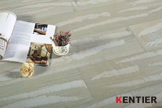 K1528-Walnut Top Veneer Multi-layer Engineered Flooring with Heavy Wire Brushed Treatment